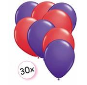 Joni's Winkel Ballonnen Paars & Rood 30 stuks 27 cm