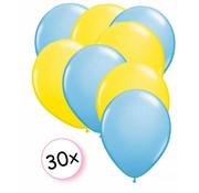 Joni's Winkel Ballonnen Licht blauw & Geel 30 stuks 27 cm