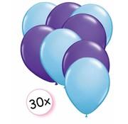 Joni's Winkel Ballonnen Licht blauw & Paars 30 stuks 27 cm