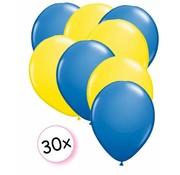 Joni's Winkel Ballonnen Blauw & Geel 30 stuks 27 cm