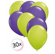 Joni's Winkel Ballonnen Licht groen & Paars 30 stuks 27 cm