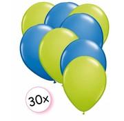 Joni's Winkel Ballonnen Licht groen/Blauw 30 stuks 27 cm