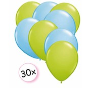 Joni's Winkel Ballonnen Licht groen & Licht blauw 30 stuks 27 cm