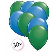 Joni's Winkel Ballonnen Groen & Blauw 30 stuks 27 cm