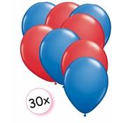 Joni's Winkel Ballonnen Blauw & Rood 30 stuks 27 cm