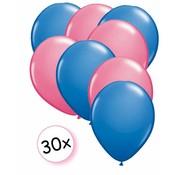Joni's Winkel Ballonnen Blauw & Roze 30 stuks 27 cm