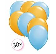 Joni's Winkel Ballonnen Licht blauw & Oranje 30 stuks 27 cm