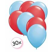 Joni's Winkel Ballonnen Licht blauw & Rood 30 stuks 27 cm