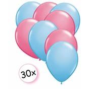 Joni's Winkel Ballonnen Licht blauw & Roze 30 stuks 27 cm