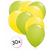 Joni's Winkel Ballonnen Licht groen & Geel 30 stuks 27 cm
