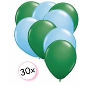 Joni's Winkel Ballonnen Groen & Licht blauw 30 stuks 27 cm