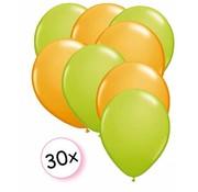Joni's Winkel Ballonnen Licht groen & Oranje 30 stuks 27 cm