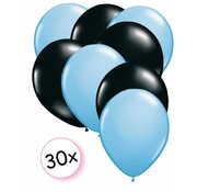 Joni's Winkel Ballonnen Licht blauw & Zwart 30 stuks 27 cm