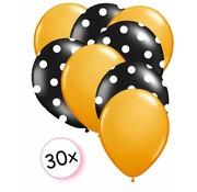 Joni's Winkel Ballonnen Oranje & Dots Zwart/Wit 30 stuks 27 cm