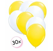 Joni's Winkel Ballonnen Geel & Wit 30 stuks 27 cm
