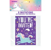 UNIQUE Uitnodigingen You're invited unicorn 8 stuks
