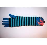 Apollo Vingerloze handschoen lang blauw/zwart