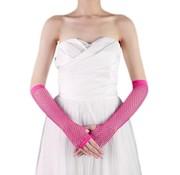 Joni's Winkel Vingerloze handschoen net Neon roze Lang