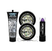 PaintGlow PaintGlow QuatroPack Lipstick Fuchsia + Chunky Glitters Disco Fever
