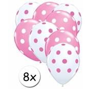 Ballonnen dots Roze/Wit - Transparant/Roze 8 stuks 30 cm