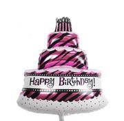 Folieballon Happy Birthday taart Roze 100x69 cm