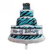 Folieballon Happy Birthday taart Blauw 100x69 cm