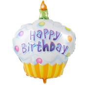Folieballon Happy birthday Cupcake blauw 35x30 cm