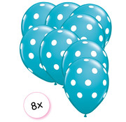 Joni's Winkel Ballonnen dots Donker groen/wit 8 stuks 30 cm