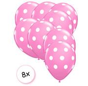 Joni's Winkel Ballonnen Dots Roze-wit 8 stuks