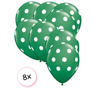 Joni's Winkel Ballonnen dots groen/wit 8 stuks 30 cm