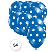 Joni's Winkel Ballonnen dots blauw/wit 8 stuks 30 cm