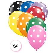 Joni's Winkel Ballonnen dots multi/wit 8 stuks 30 cm