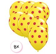 Joni's Winkel Ballonnen dots Geel/Rood 8 stuks 30 cm