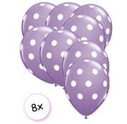 Joni's Winkel Ballonnen dots paars/wit 8 stuks 30 cm