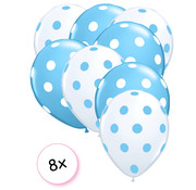 Joni's Winkel Ballonnen dots blauw/wit-wit/blauw 8 stuks 30 cm
