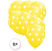 Joni's Winkel Ballonnen dots geel/wit 8 stuks 30 cm