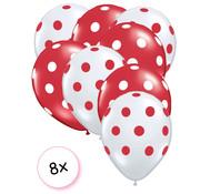 Joni's Winkel Ballonnen Dots Rood-wit/Wit-rood 8 stuks 30 cm