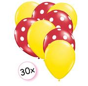 Joni's Winkel Ballonnen Geel & Dots Rood-Wit 30 stuks 27 cm