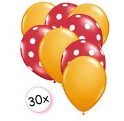 Joni's Winkel Ballonnen Oranje & Dots Rood-Wit 30 stuks 27 cm