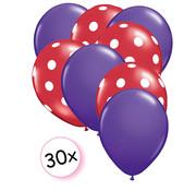 Joni's Winkel Ballonnen Paars & Dots Rood-Wit 30 stuks 27 cm