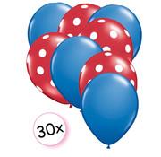 Joni's Winkel Ballonnen Blauw & Dots Rood-Wit 30 stuks 27 cm