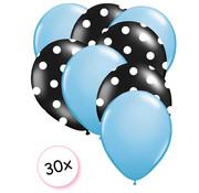 Joni's Winkel Ballonnen Licht blauw & Dots Zwart-Wit 30 stuks 27 cm