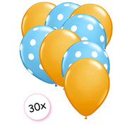 Joni's Winkel Ballonnen Oranje & Dots Licht blauw-Wit 30 stuks 27 cm