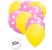 Joni's Winkel Ballonnen Geel & Dots Roze-Wit 30 stuks 27 cm