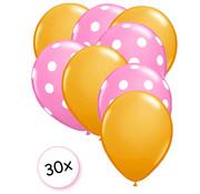 Joni's Winkel Ballonnen Oranje & Dots Roze-Wit 30 stuks 27 cm