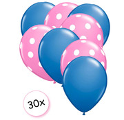Joni's Winkel Ballonnen Blauw & Dots Roze-Wit 30 stuks 27 cm