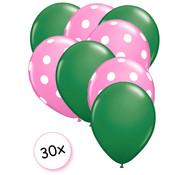 Joni's Winkel Ballonnen Groen & Dots Roze-Wit 30 stuks 27 cm
