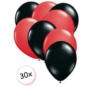 Joni's Winkel Ballonnen Rood & Zwart 30 stuks 27 cm