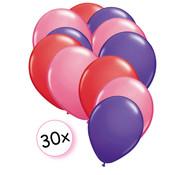 Joni's Winkel Ballonnen Rood, Roze, Paars 30 stuks 27 cm