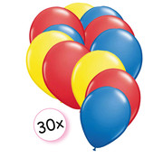 Joni's Winkel Ballonnen Geel, Rood & Blauw 30 stuks 27 cm